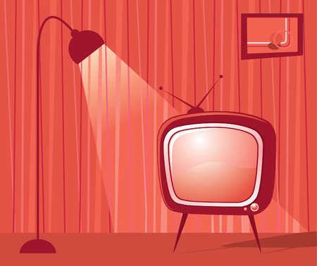 vintage living room: retro room with tv and lamp. Interior. Illustration