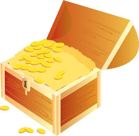 treasure box: Treasure chest.Vector on white.