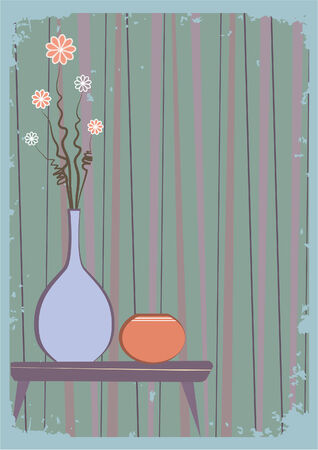 vintage living room: Vector vases with flowers.Retro interior