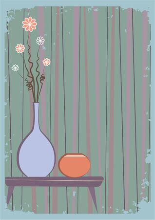 Vector vases with flowers.Retro interior Stock Vector - 7471426