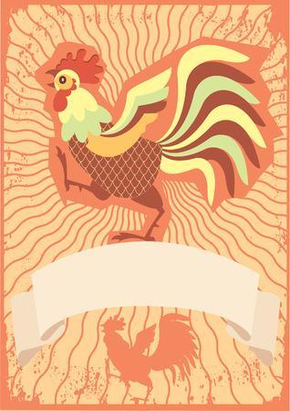 bantam hen: Rooster symbol for text.