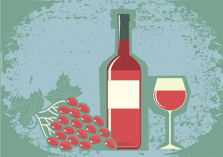 Red wine and grapes. Vector