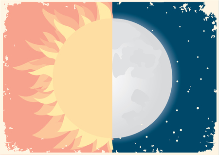 Sun and moon symbol. Vector