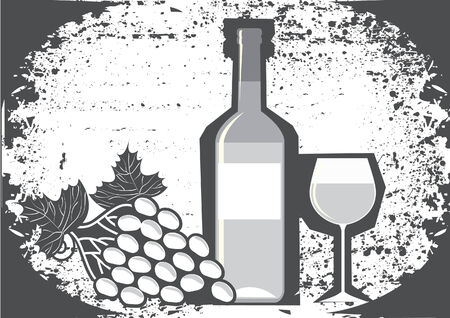Wine and grapes. Vector