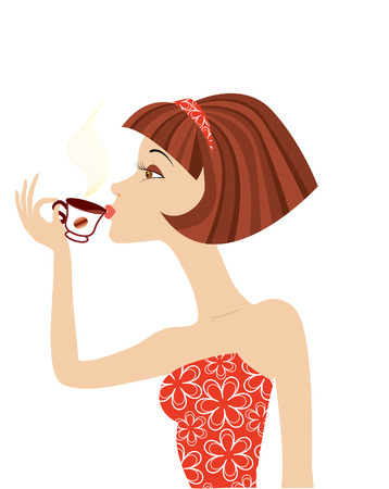 restyled:  woman drink coffee in red clothes. Illustration