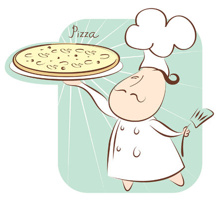 Pizza and chef.  Vector