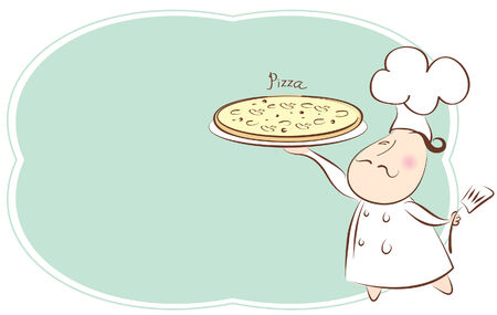 Pizza recipe background for text. Vector