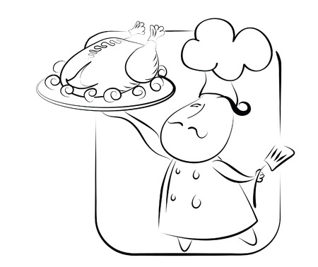 roast dinner: Chef and chicken  symbol Illustration