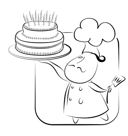 Big cake and chef.  Vector