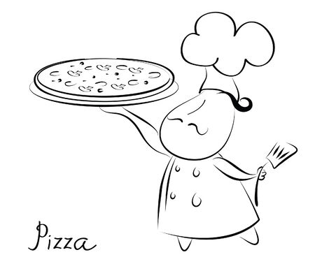 gourmet dinner: Chef and pizza.