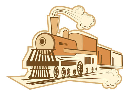 railway history: Locomotive on white.