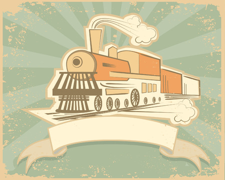railway history: Locomotive.Vintage background