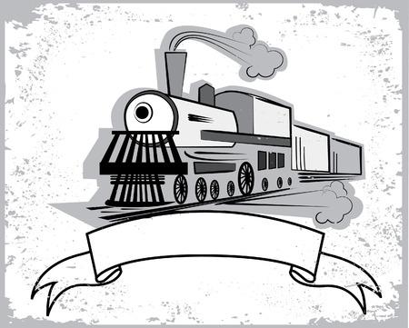 Locomotive.Graphic de texto  Ilustración de vector