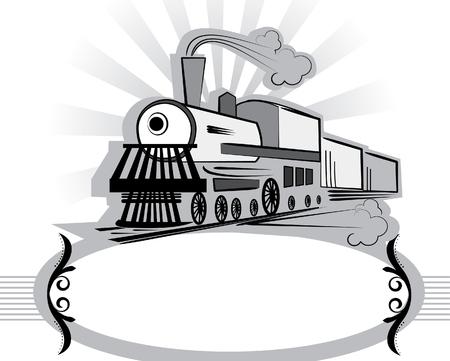 maquina vapor: S�mbolo del antiguo tren de estilo white.Retro.  Vectores