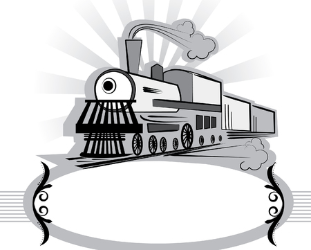 steam locomotive: Symbol of old train on white.Retro style.