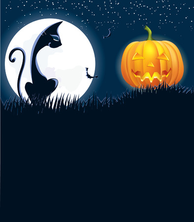Halloween image with black cat wnd pumpkin in night .Vector Stock Vector - 7804978
