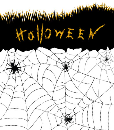 Halloween .Black spiders on white Vector
