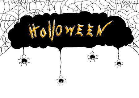 cartoon spider: Halloween background.vector spiders