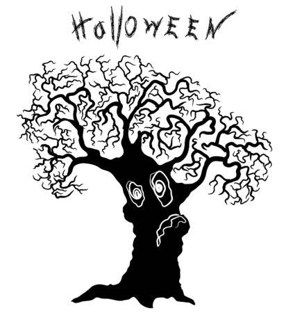 Big tree.Vector silhouette of tree for Halloween. Vector