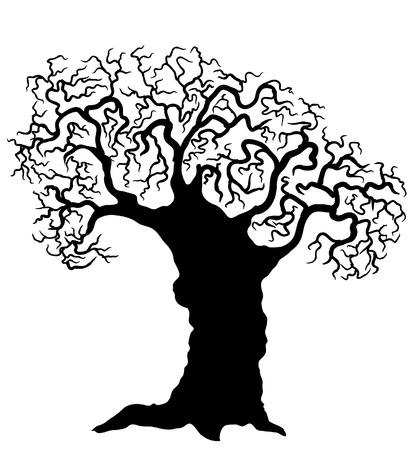 Tree.Vector black silhouette on white Vector