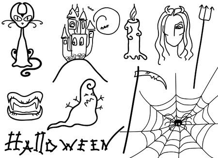 Vector Halloween elements for design on white Vector