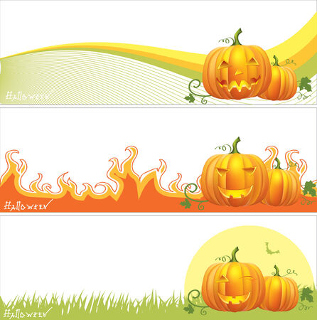 headstone: Halloween banners .Vector pumpkins symbols
