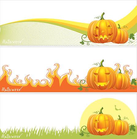 scary pumpkin: Halloween banners .Vector pumpkins symbols