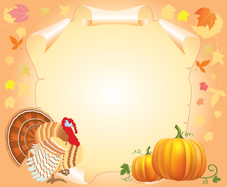 thanksgiving postcard for text with turkey and pumpkins Stock Vector - 7910696