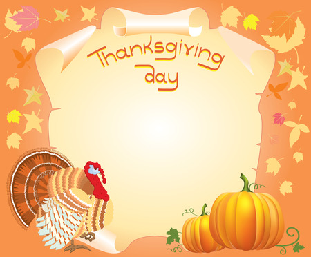 thanksgiving postcard for text with turkey and pumpkins  Vector