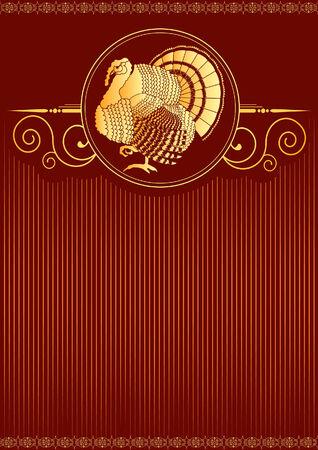 red: Turkey postcard. thanksgiving background