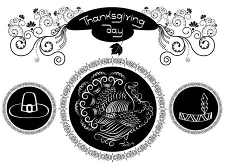 Thanksgiving elements and decorations  for design on white Vector