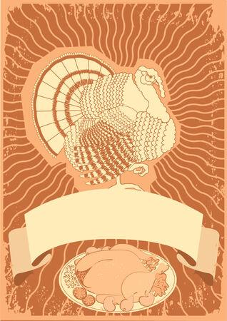 Turkey postcard.Thanksgiving background for design Vector