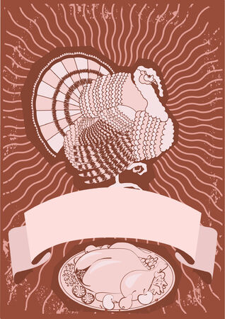 Turkey postcard.Thanksgiving background for design Vector