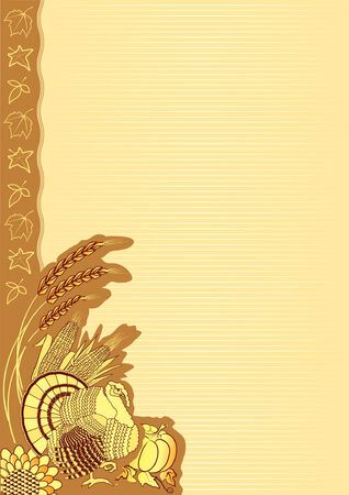 Thanksgiving decoration postcard Vector