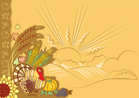 Turkey postcard.Thanksgiving autumn background for design Stock Vector - 8014050