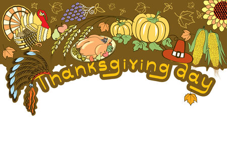 Thanksgiving decoration with turkey and pumpkins . banner Vector
