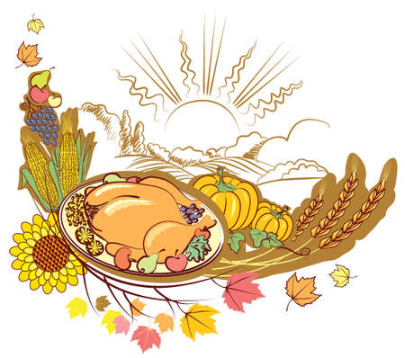 Thanksgiving decoration with roast turkey and pumpkins . symbol Vector