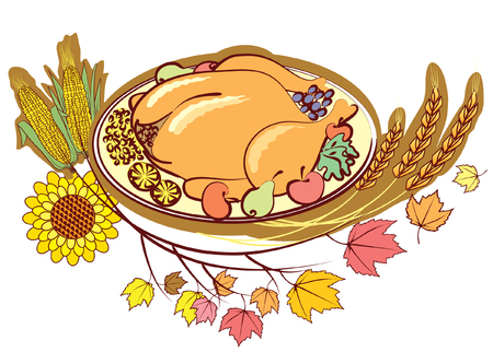 viande cuite: Roast turkey and autumn elements  .Thanksgiving day Illustration