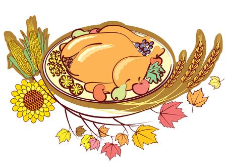 Roast turkey and autumn elements .Thanksgiving day