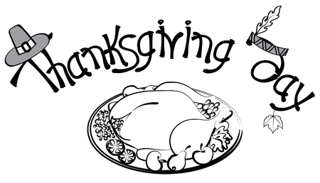 Roast turkey and text for holiday.Thanksgiving day  Vector