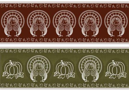 Decoraci�n de pavo y calabazas de pattern.graphic de acci�n de gracias para dise�o Foto de archivo - 8073212
