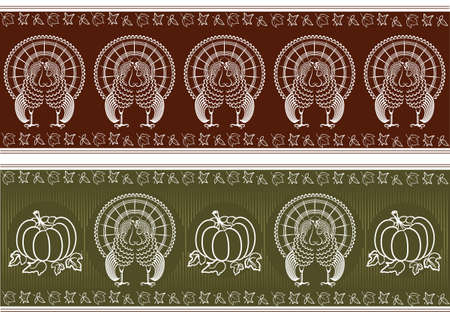 Thanksgiving pattern.graphic turkey and pumpkins decor for design Vector