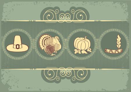 turkey thanksgiving: Vintage postal de pavo de acci�n de gracias.