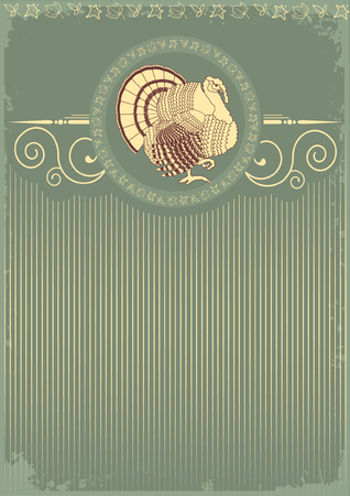 Vintage Thanksgiving turkey postcard . Stock Vector - 8073220