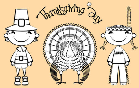 Indian and pilgrim with turkey.thanksgiving elements  Vector