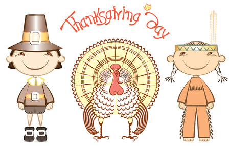 Indian and pilgrim with turkey.thanksgiving elements on white Vector