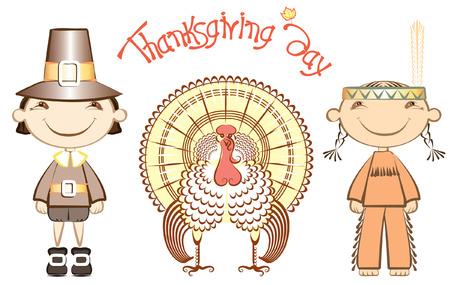 pilgrim hat: Indian and pilgrim with turkey.thanksgiving elements on white