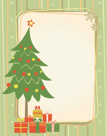 old fashioned christmas: christmas tree and presents.Retro background for text