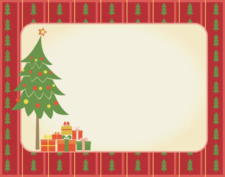 christmas green tree and presents.Retro background for text Vector