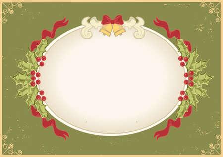 sprig: Christmas frame.Vintage background with Holly sprig for design